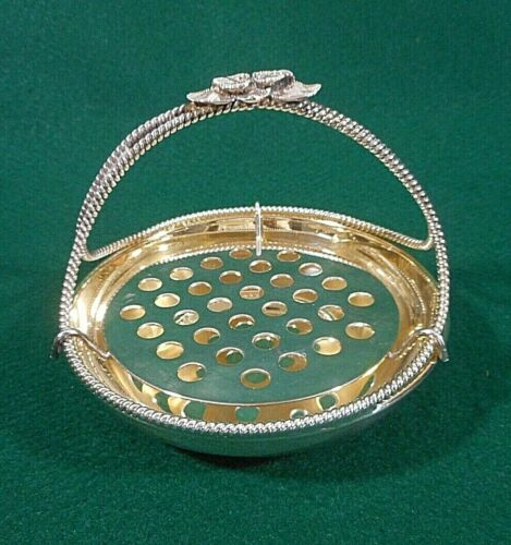 Silver Plate Unbranded Butter Basket with Floral Handle