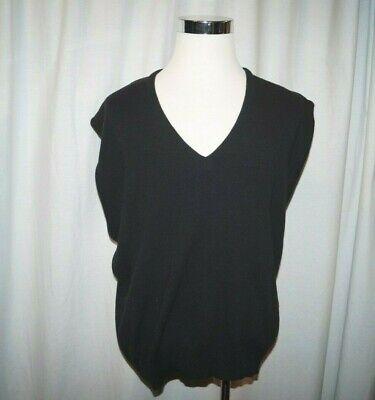 Vtg American Priority Sweater Vest Black V Neck Sleeveless USA ILGWU 80's