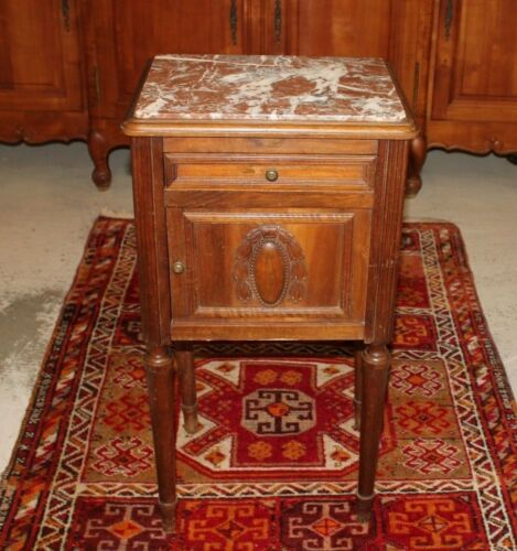 French Antlque Marble Top Nightstand Side Ta le | Bedro | Bedroom Furnituru