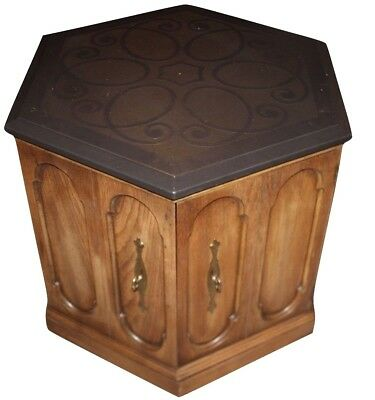 Vintage Oak Wood Hexagon w/  Door Cabinet Stand Fish Tank Storage PICK UP ONLY