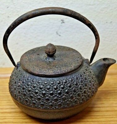 VINTAGE CAST IRON SMALL HOBNAIL JAPANESE CHINESE BLACK TEAPOT SIGNED