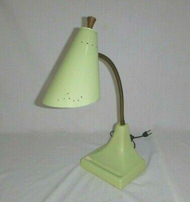 Vtg Mid Century Light Green Porcelain Base Metal Cone Gooseneck Desk Task Lamp