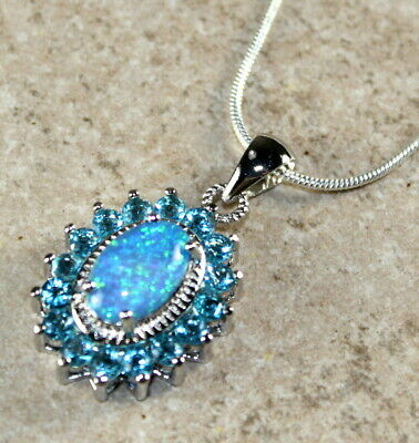 SILVER Elegant Blue Fire Opal & Sky Blue Topaz Oval Pendant Necklace WP40502