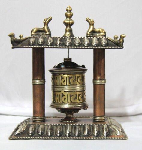 Tibetan Buddhist Handcrafted Spinning Prayer Wheel Small Table Shrine Design