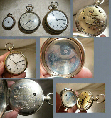 Antique Pocket Watch x3 Ingersoll Crown,French Silver Galonne Swiss Spare/Repair
