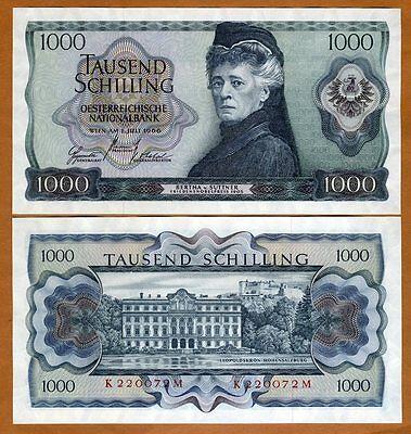 Austria, 1000 schillings, 1966, P-147,  Scarce in UNC