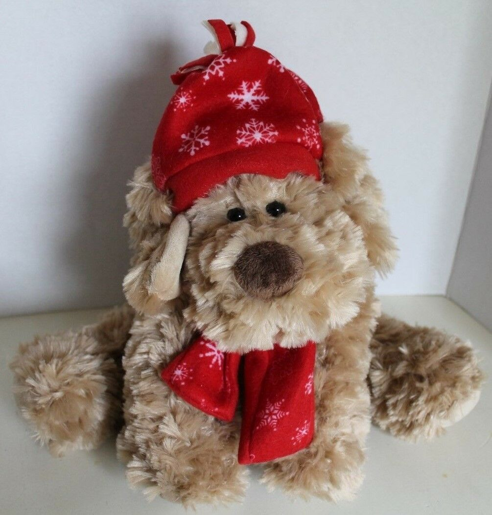 Fashion Bug Light Brown Dog Wearing A Hat And Scarf Stuffed Plush Animal - $14.99