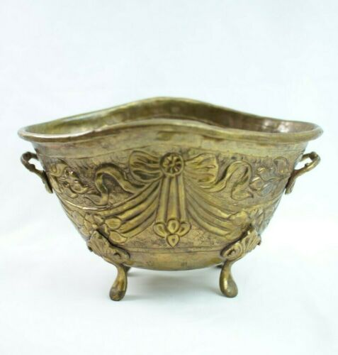 Antique Brass Planter Pot Hand Crafted double handle and feet