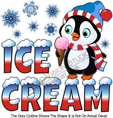 Ice Cream Snowflake Penguin Concession Trailer Food Cart Truck Menu Sign Decal