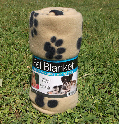 "Large Paw Print Fleece Blanket Warm Polyester 60""x39"" Soft Cozy Dog Cat Bed"
