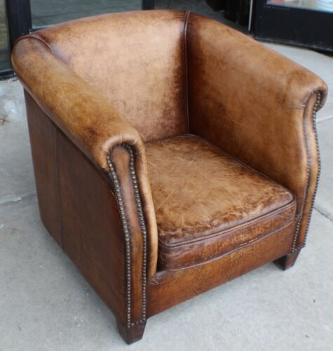 "30"" W Club Arm Chair Vintage Chocolate Brown Buffalo Leather Antique Distressed"