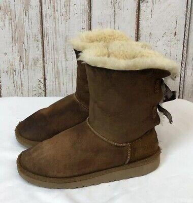 UGG Australia Uggs 3280K Bailey Bow Kids Girls 3 Brown Suede Sheepskin Boots #3
