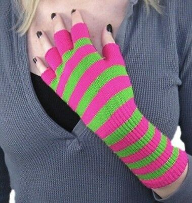 Pink Green Striped Long Wrist Knit Fingerless Gloves Ladies Girls Multi-Color