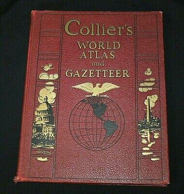 COLLIER'S WORLD ATLAS AND GAZETTEER, © 1937 P F Collier & Son Maps Statistics VG