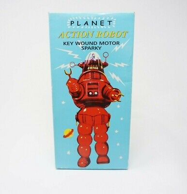 Collectors Tin Robot - Planet Action Robot Key Wound Motor Sparky Adult Collectors Robbie Green Tin