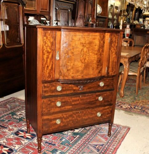 Edwardian Antique Inlaid Mahogany Chest Of Drawer Gentlemen's Cabinet, Sideboard
