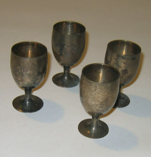Set of 4 Vintage Mini Metal Cordial Goblets (Made in India)