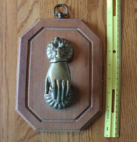 Brass Door Knocker Antique Ornate Figural Hand Mansion wooden Plaque Victorian