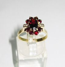 578560 9k Yellow Gold Diamond & Red Stone Dress Ring 2.9gm Flower Ipswich Ipswich City Preview