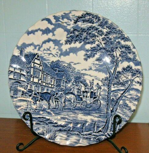 "Myott ""Royal Mail"" Blue 10"" Dinner Plate, Staffordshire Ware, England, Horses"