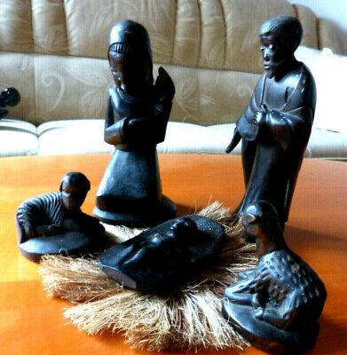 Afrikanische Krippe (Makonde-Krippe) aus Tansania Maria, Josef, Jesuskind,Schafe