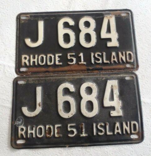 1951 Rhode Island License plate pair J 684
