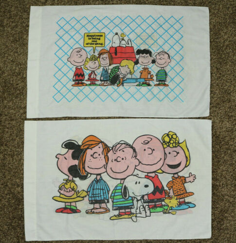 Vintage Lot of 2 Peanuts Snoopy Pillow Case