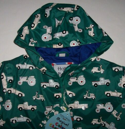 NWT Holly & Beau Green COLOR-CHANGING Raincoat Jacket TRACTORS/CARS 7-8 Boys