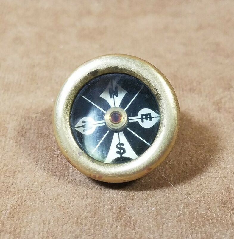 Vintage Marbles Arms Brass Pin On Compass Made in USA