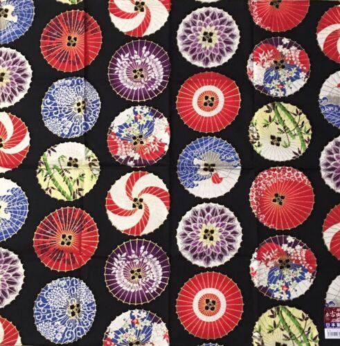 "Japanese Furoshiki Wrapping Scarf Hand Cloth 19.75"" Cotton Black Janome Parasols"