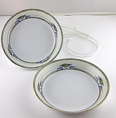 Coupe Soup Bowl Noritake Malvern Yellow Black Band Blue Scrolls Floral 2pcs Floral Coupe Soup Bowl