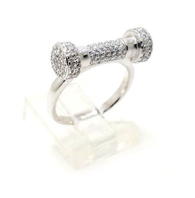 Silver White Barbell (Unique 925 Sterling Silver White Zircon Handmade Women's Barbell Ring Size 6 USA )