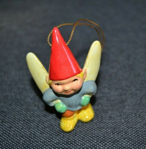 Vtg 1979 Unieboek GNOME Blonde Boy Porcelain Christmas Ornament Korea WINGS Elf