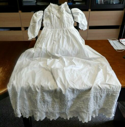 Antique White Cotton Christening Dress with Tucks and Cotton Lace Trim