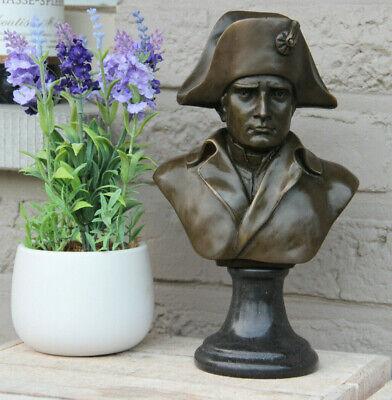 Antique Napoleon Bronze bust figurine on stone base marked signed n2