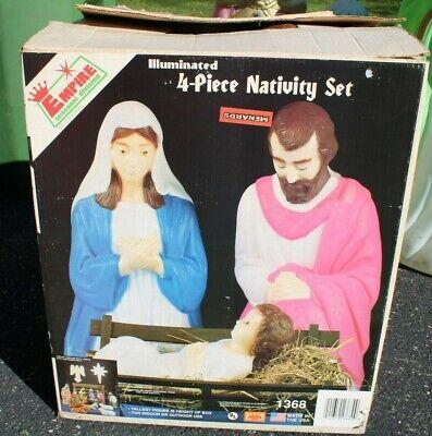 VTG Empire #1368 4pc Joseph Mary & Baby Jesus Holiday Blow Mold Lighted Set