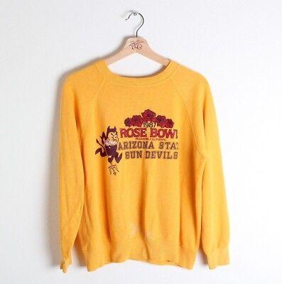 Vintage 80s Arizona State University ASU GOLD Sweatshirt *Distressed* Sparky S