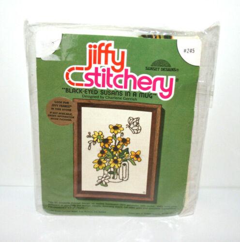 "NEW VTG 1977 Jiffy Stitchery Kit Floral ""Black Eyed Susans In A Mug"" 5""x7"" #245"