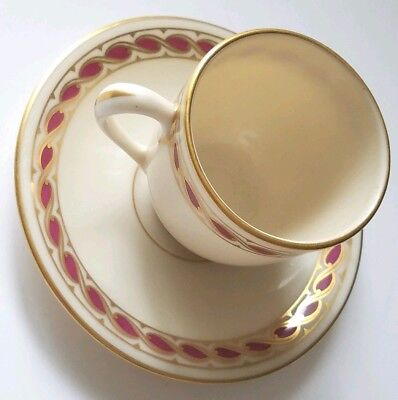 Lenox Demitasse Coffee Tea Espresso Cup and Saucer Stratford Maroon 1306 R417R