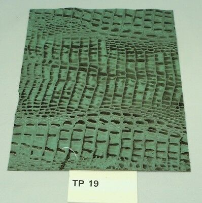 WOW! Fresh Thyme Green CROC Print Craft Leather Piece 9.5