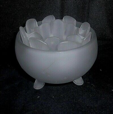 """Art Deco 3 1/4"""" Tall X 4 3/8"""" Diameter Frosted Glass Bowl WITH INSERT"""