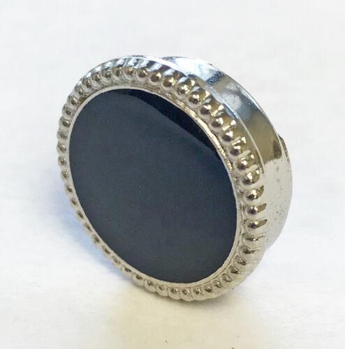 Black & Silver Button Cover for Banded Collar Tuxedo Shirt Nehru Mandarin Formal