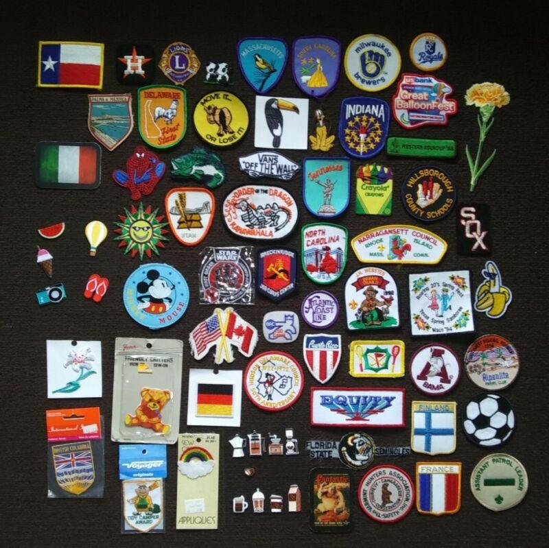 Lot of 60 Vintage Travel Souvenir Attraction Sports Collectors Patches