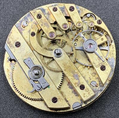 Jules Huguenin Pocket Watch Movement Dial 3 Finger Keywind Swiss 38 Mm F4305