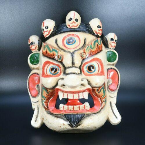 "12"" cultural Wooden Bhairab Mahakala Shaman Mask Tibetan spritiual Carved Nepal"