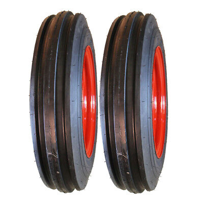 Two 4.00-12 Farmall Oliver Tractor Pulling Front Tires Wheels Rims Kit-n