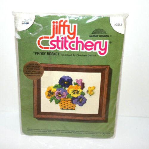 """NEW VTG Jiffy Stitchery Sunset Embroidery Kit Floral """"Pansy Basket"""" 4""""x5"""" #256A"""