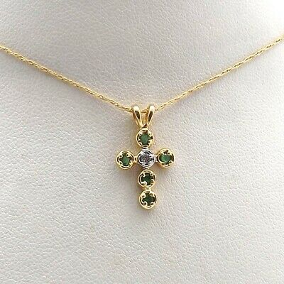 14K Gold Emerald Diamond Cross Twisted Rope Pendant Chain Necklace 20 Inch Emerald Religious Cross