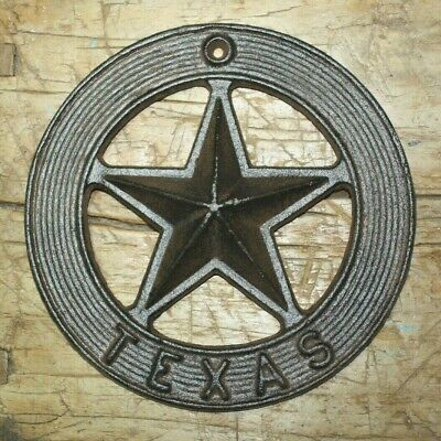 Cast Iron STAR Cowboy Plaque Sign Rustic Ranch Wall Decor TEXAS Lone Star Badge](Cowboy Wall Decor)