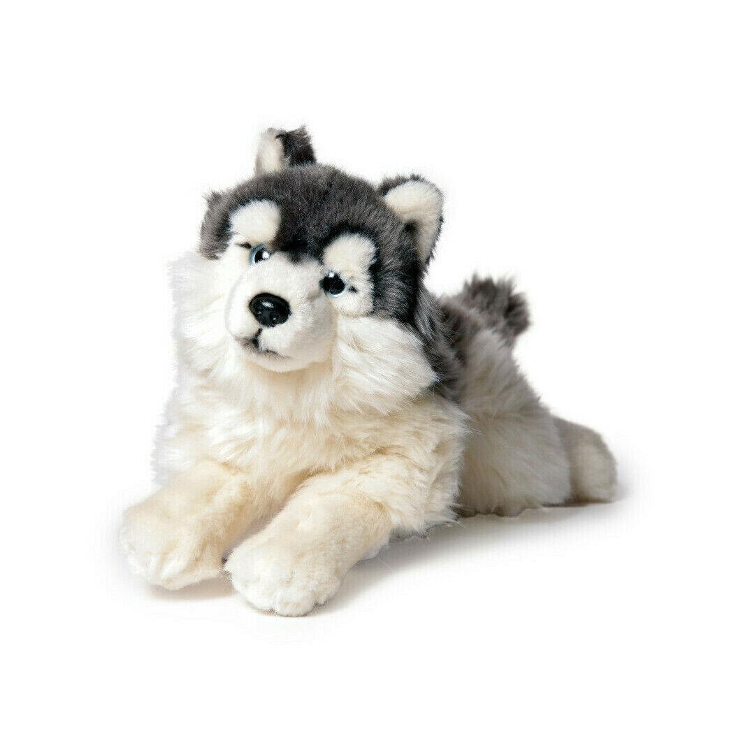 weicher 35cm Husky liegend Stofftier Plüschtier Kuscheltier Plüsch Hund Dog grau